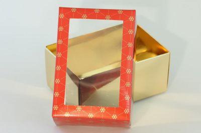 Dárková krabička červeno-zlatá