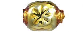 F343 Kamínek s kytičkou - lesk žlutá (30 ks)