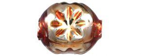 F343 Kamínek s kytičkou - lesk oranžová (30 ks)