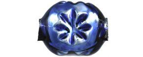 F343 Kamínek s kytičkou - lesk modrá (30 ks)