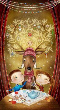 Vánoční pohled s jelenem - velký
